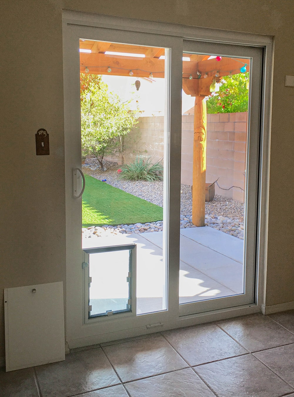 patio door with dog door