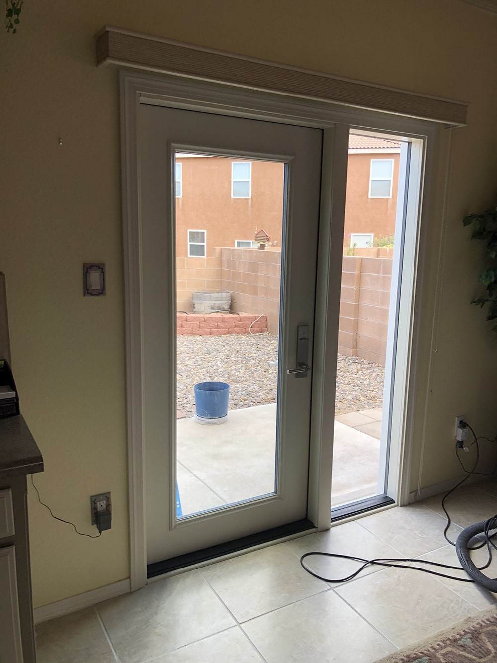 Swinging patio door single installation
