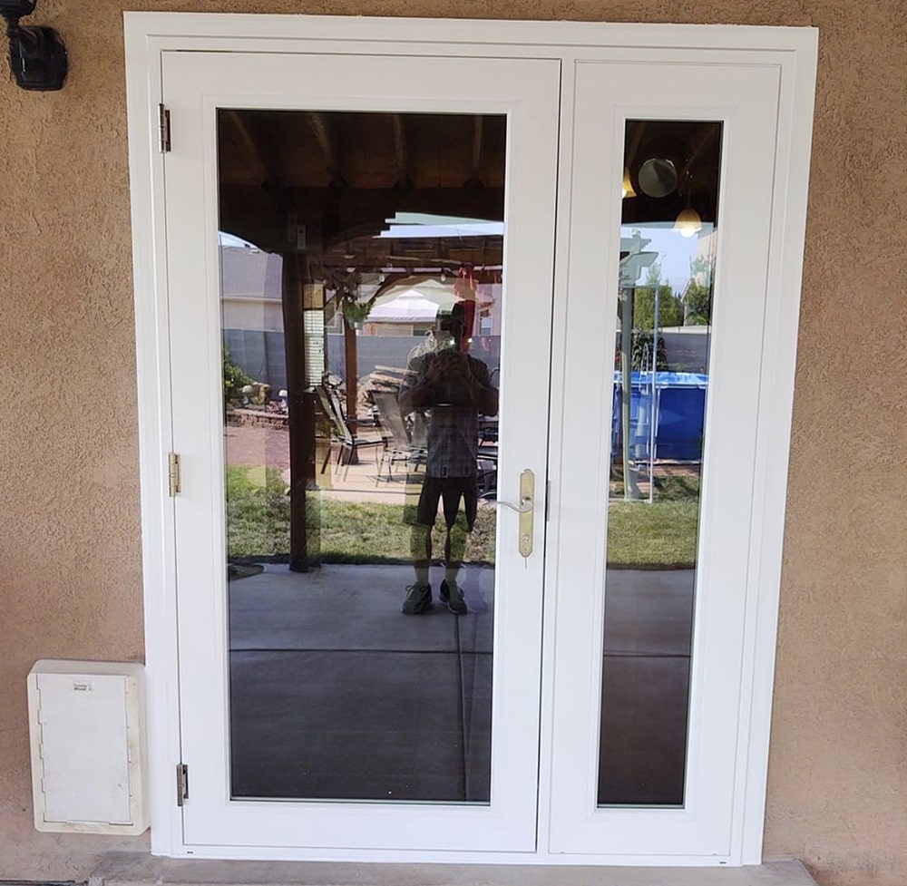 image of swinging patio door installation