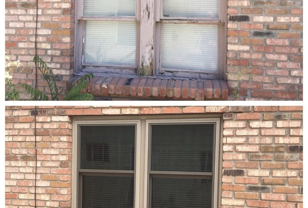 Before & After shot of single hung window installation